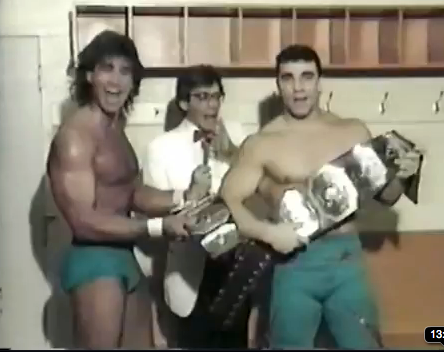 Tom Zenk (left) and Dan Kroffat (right) mug for the TV cameras with Milt Avruskin interviewing