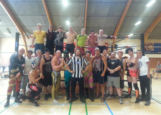 Fake or Break camp 2014 Denmark, the final line-up that pulled through to the end (with veteran ace wrestler Chaos 2nd to my right and Poul Roest 2nd to my left)