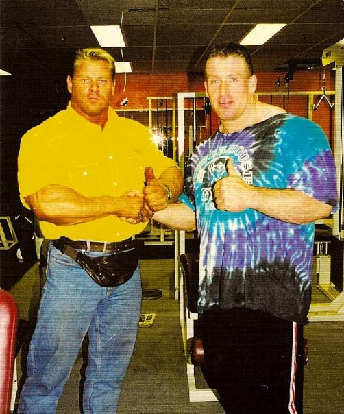 Boogie poses with multi-time Mr. Olympia, Dorian Yates of the UK