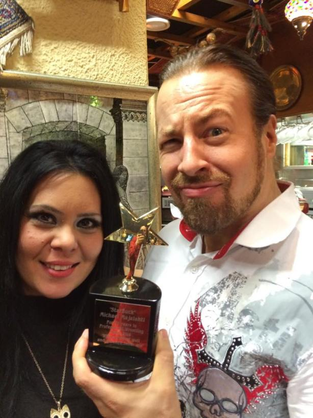 My wife Diana gave me her own award for my 20 years in wrestling