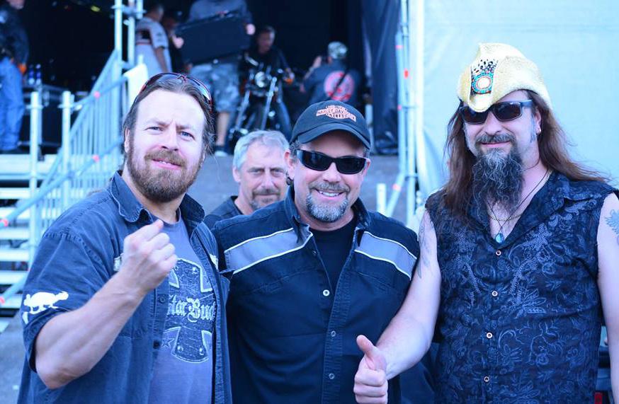 Bill Davidson mugs between me and Crossfyre's session bassist Sami Salminen.