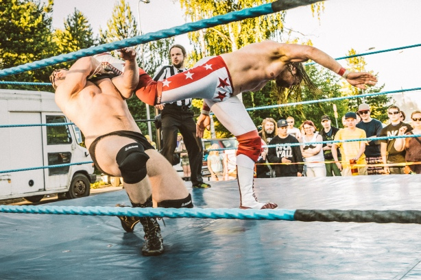 I've faced big men like the executioner-like Pyöveli Petrov, who have fallen to finishers like my superkick (photo: Jarmo Katila)