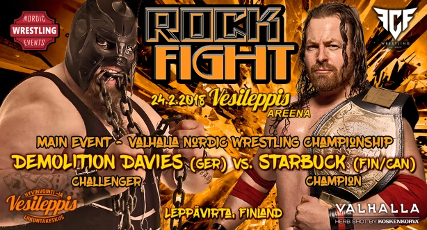Davies vs StarBuck ROCK FIGHT banner