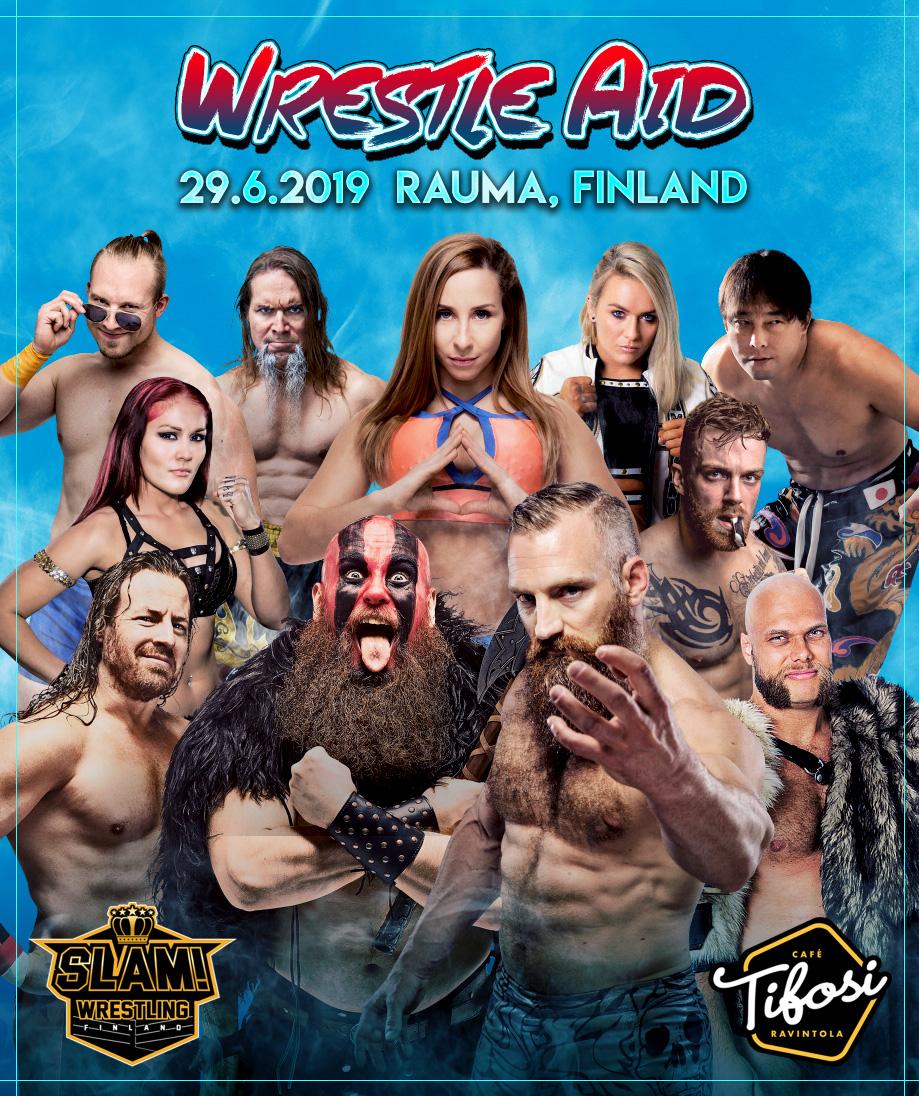 Wrestle Aid poster SLAM Wrestling Finland